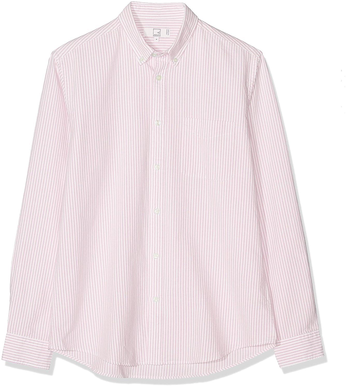 Marca Amazon - MERAKI Cotton Regular Fit Oxford Stripe - Camisa casual Hombre