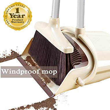 Broom and Dustpan Set Outdoor or Indoor Broom with Dust Pan 3 Foot Mop Angle Heavy Push Broom for Kids Garden Pet Dog Hair Wood Floors Sweeping Kitchen House