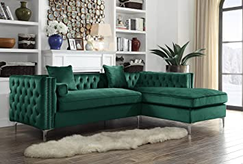 Iconic Home Da Vinci Right Hand Facing Sectional Sofa L Shape Chaise Velvet  Button Tufted with Silver Nail Head Trim Silvertone Metal Y-Leg with 3 ...