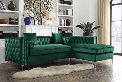 Amazon.com: Iconic Home Da Vinci Right Hand Facing Sectional Sofa L ...