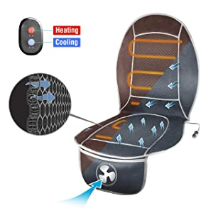 HealthMate IN9882 12V All Season Cool and Heat Seat Cushion for Full Back and Seat, Cooling or Heated Seat Cushion for Car, Home, Office Chair Use, Products by Wagan