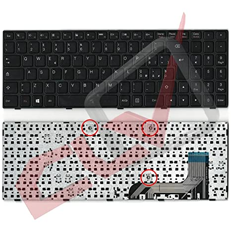 Teclado italiano con marco negro para ordenador portátil Lenovo IdeaPad 100-15 100-15IB
