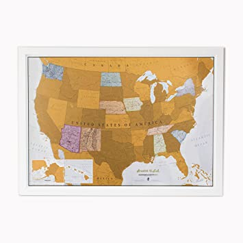 Amazoncom Scratch USA Scratch Off Places You Travel America - Orange map us states