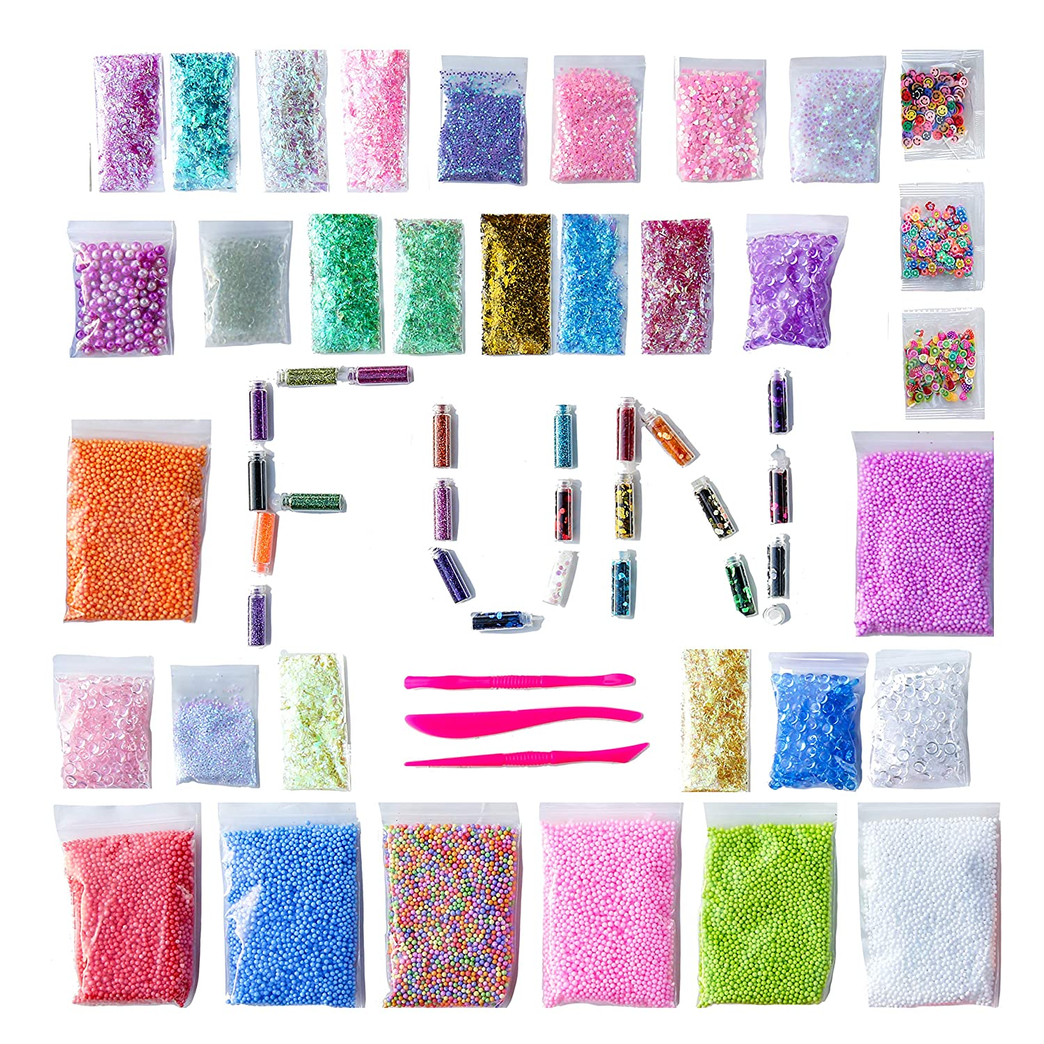 Foil Flakes 60 Pack Slime Charm Accessories Fishbowl Beads Hearts Pearls Stars 44Town Slime Supplies Kit Smiley Faces Colorful Rainbow Foam Beads Flower Slices Glitter