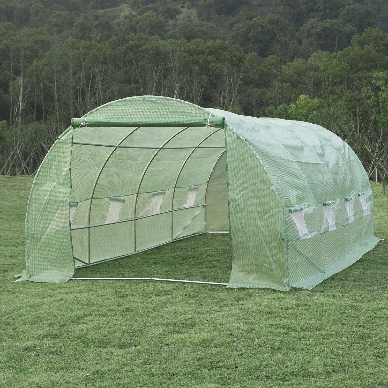 Invernadero de Jardín para Plantas - Color Verde - Acero y Polietileno - 6x3x2m: Amazon.es: Jardín