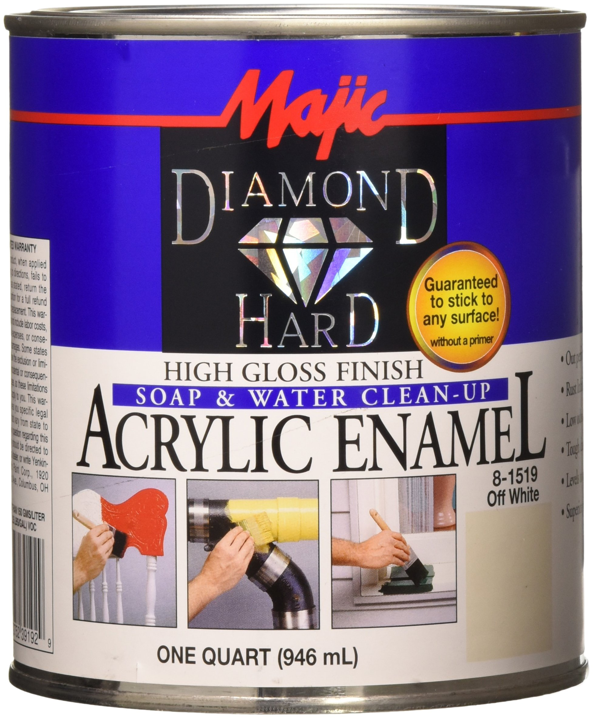 Majic Paints 8-1519-2 Diamond Hard Acrylic Enamel High Gloss Paint, 1- Quart, Off White