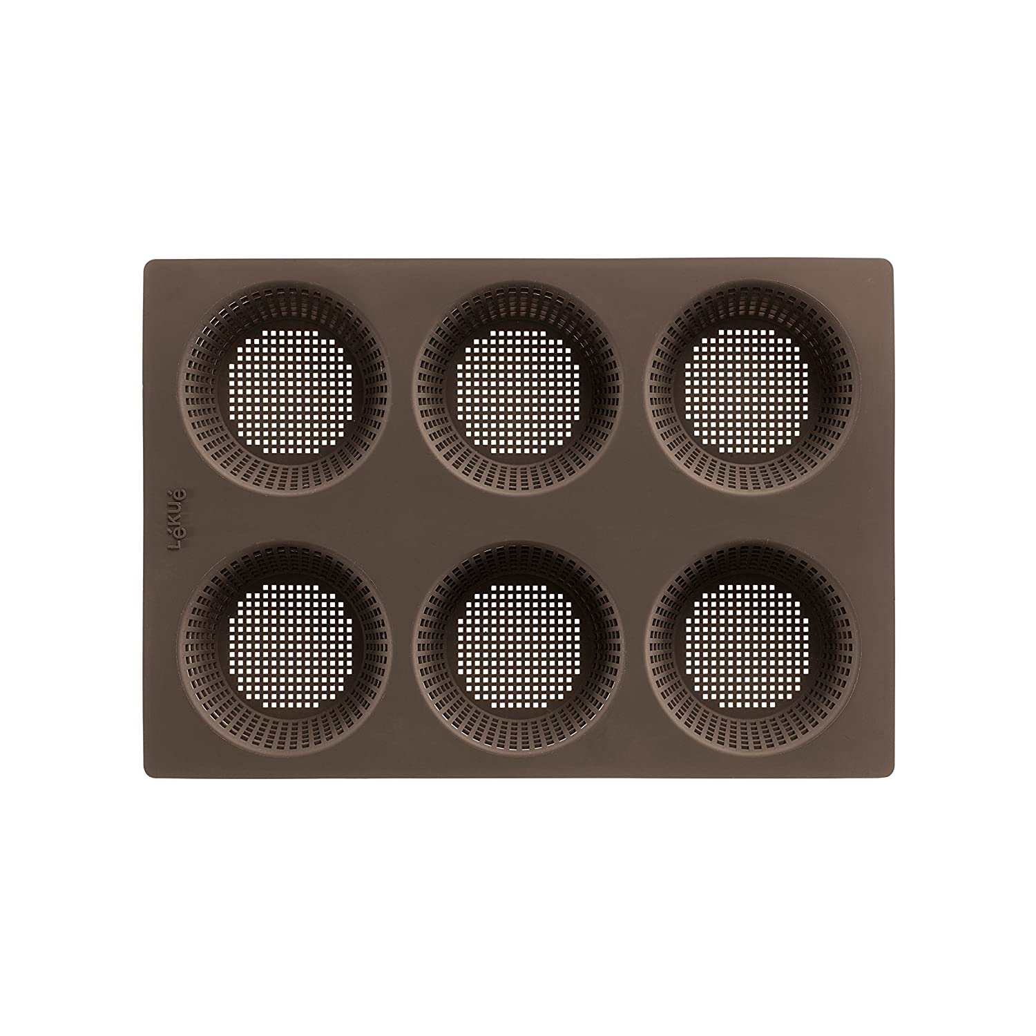 Amazon.com: Lekue 6 Cavity Micro Perforated Round Roll Baking Pan, Brown: Kitchen & Dining