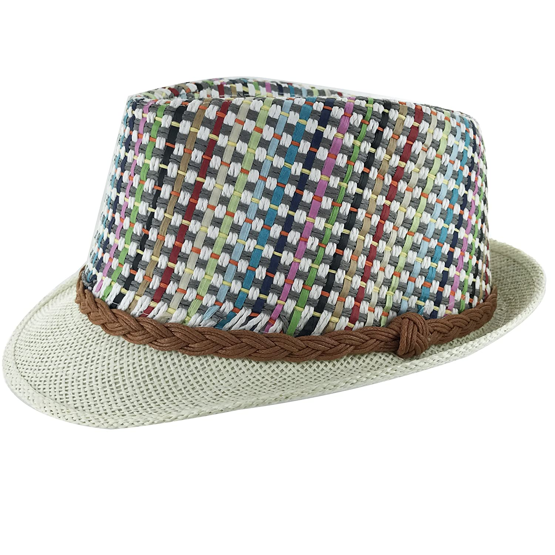 Faddism Unisex Slim Braided Belt Cuban Brim Fedora Hat Model 200
