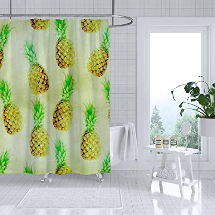 Adiucmcz Pineapple Wallpaper Vintage Shower Curtain Fabric Bathroom Decor Set Waterproof Mildew With 12 Hooks