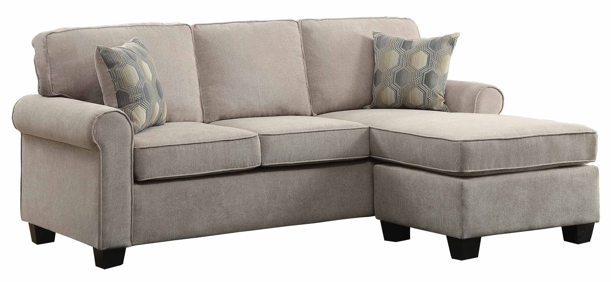 Homelegance Clumber 82'' Reversible Sectional with Accent Pillows, Beige by Homelegance