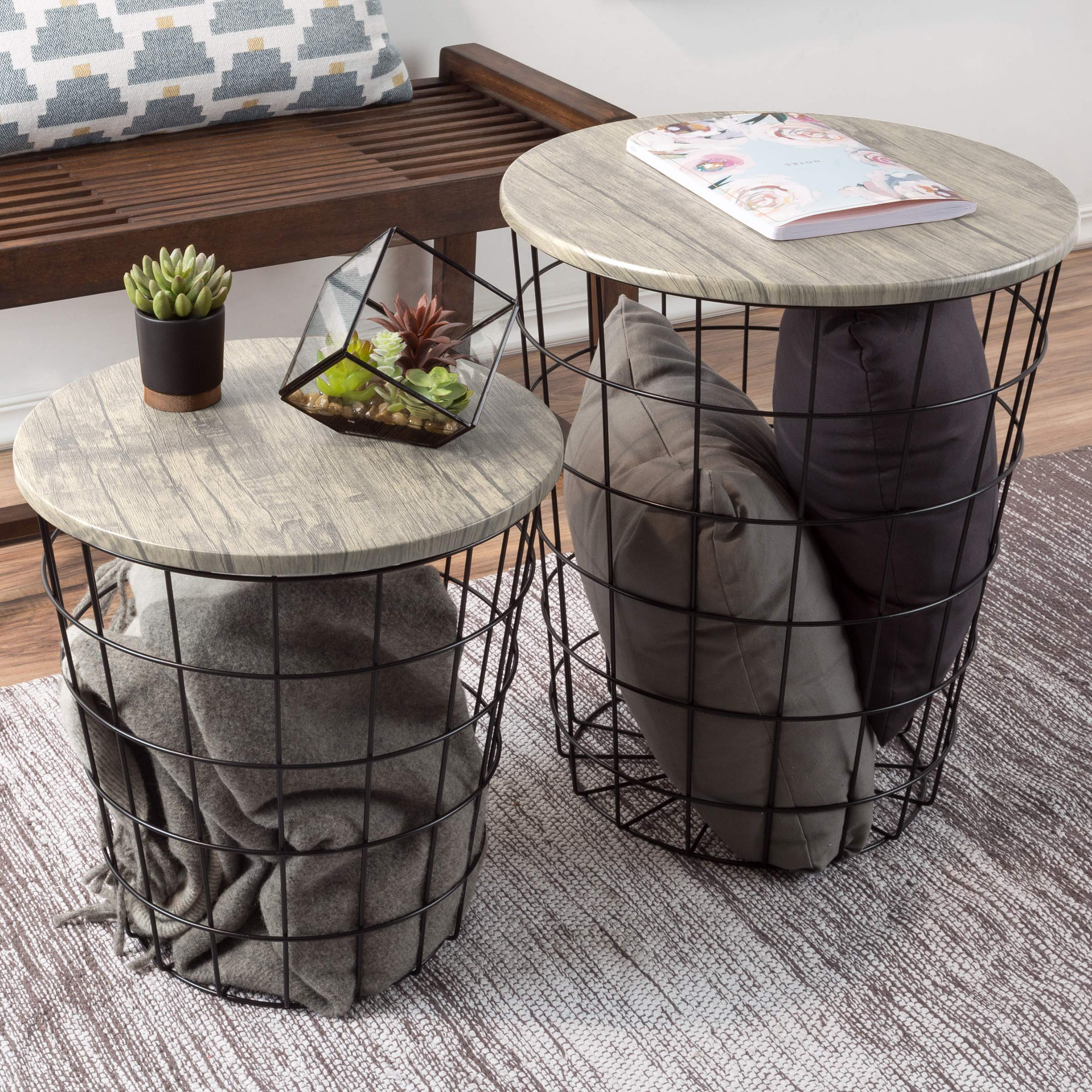 Lavish Home (Gray) Nesting End Tables with Storage by Lavish Home