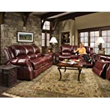 Amazon Com 3pc Princeton Tri Tone Burgundy Leather Sofa