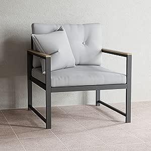 EdenbrookCliffsideMetalPatio Furniture - Mix and Match Modern Outdoor Furniture Pieces, Metal Chair with Cushions