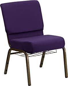 Flash Furniture HERCULES Series 21''W Church Chair in Royal Purple Fabric with Cup Book Rack - Gold Vein Frame