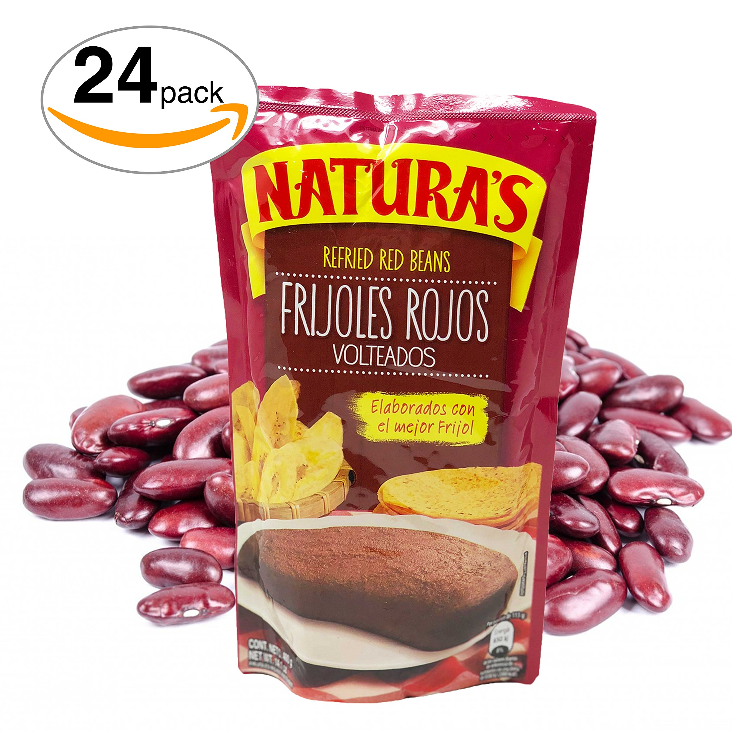 Naturas Refried Red Kidney Beans:Frijoles Rojos Volteados | 100% Plant Based | Ready To Serve| Made With Ground Beans of Beans|No Preservative,No Artificial Colors|100% Natural (227g,8oz) 24pack by NATURA'S