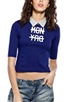 Maniac Womens 3/4th Sleeve Printed Polo Neck Cotton Crop Tops