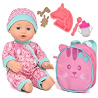Baby Doll with Backpack Carrier, Doll Feeding Set Accessories, 12 Inch Doll with Baby Bottle and Mini Doll Backpack