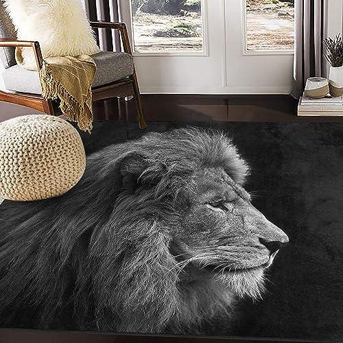 ALAZA Art Lion Head Black Area Rug Rugs for Living Room Bedroom 7 x 5