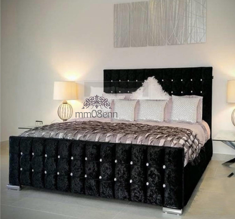 Black 4ft6 Double Cubed Upholstered Crushed Velvet Double  Kingsize Bed Frame in Silver,Black,Cream,gold,Champagne,Truffle (4ft6 Double, Black)