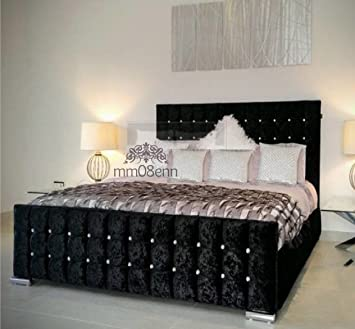 Cubed Upholstered Crushed Velvet Double Kingsize Bed Frame In