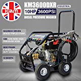 Kiam KM3600DXR 10hp Industrial Diesel Pressure Washer with GEARBOX REDUCTION (3600PSI @ 15 Ltr/Min) High Jet Power Driveway Patio Car Block Paving Cleaner