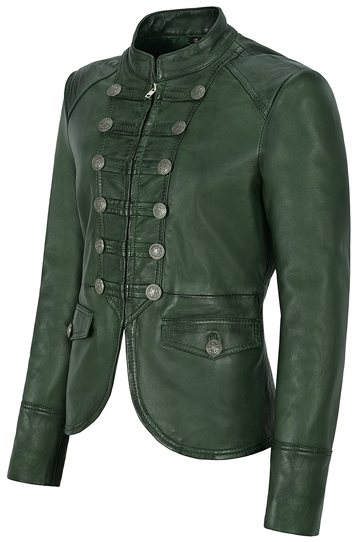 4e7340dc9a4 Chaqueta de cuero para mujer Verde Victory Desfile militar Style Real Soft  Lambskin 8976