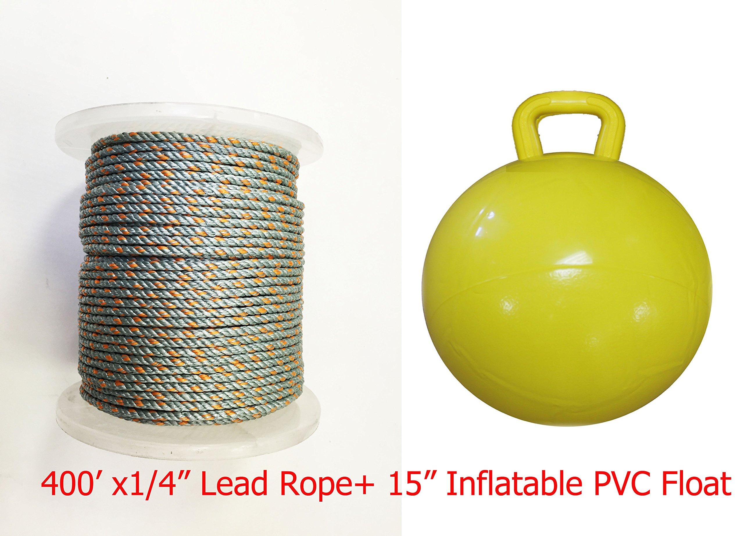 KUFA Sports 1/4 Diameter/400' Lead Core Rope & 15'' Inflatable Yellow Floats by KUFA Sports