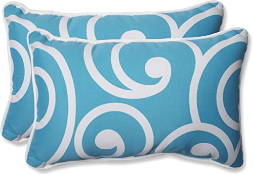 Pillow Perfect 564173 Outdoor Indoor Best Lumbar Pillows, 11.5 x 18.5 , Turquoise