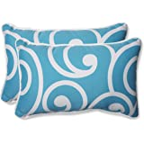 Pillow Perfect Outdoor Best Rectangular Throw Pillow, Turquoise, Set of 2