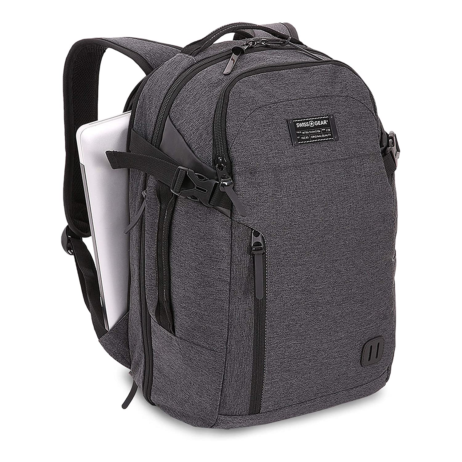 cb74bf699 Amazon.com: SWISSGEAR Getaway Weekend 15-inch Padded Laptop Backpack |  Travel, Work, School | Men's and Women's - Heather Gray: Clothing