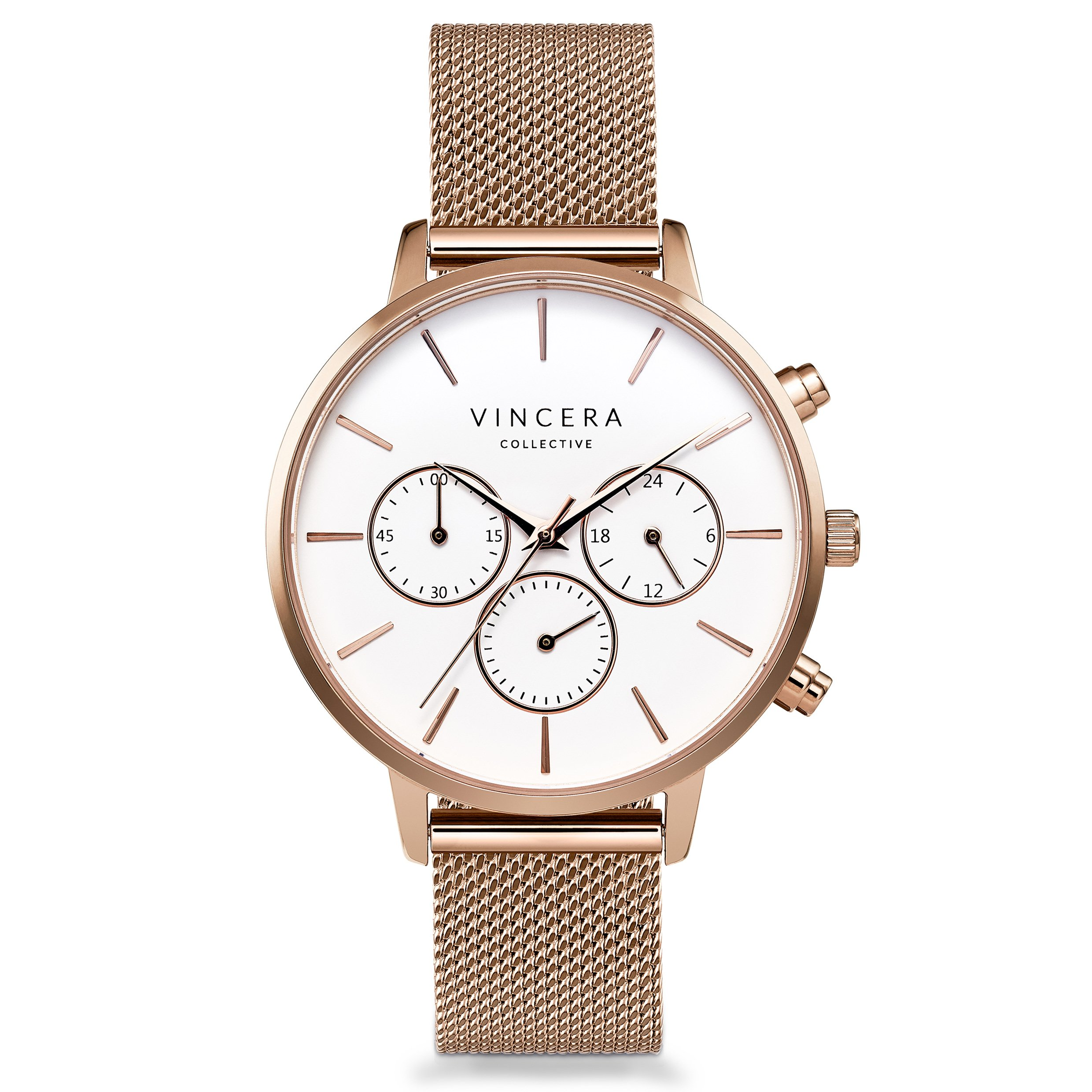 Vincero Luxury Woman's Kleio Wrist Watch — Rose Gold + White dial with a Rose Gold Mesh Watch Band — 38mm Chronograph Watch — Japanese Quartz Movement by Vincero