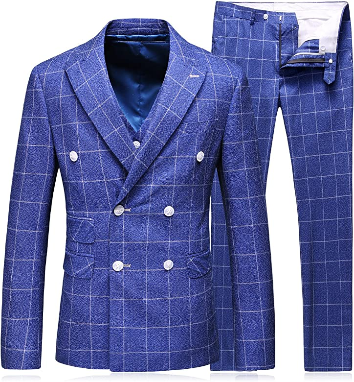 MOGU Blazer los Hombres Elegante Traje de 3 Piezas de Tela Escocesa Vestido Formal de la Boda