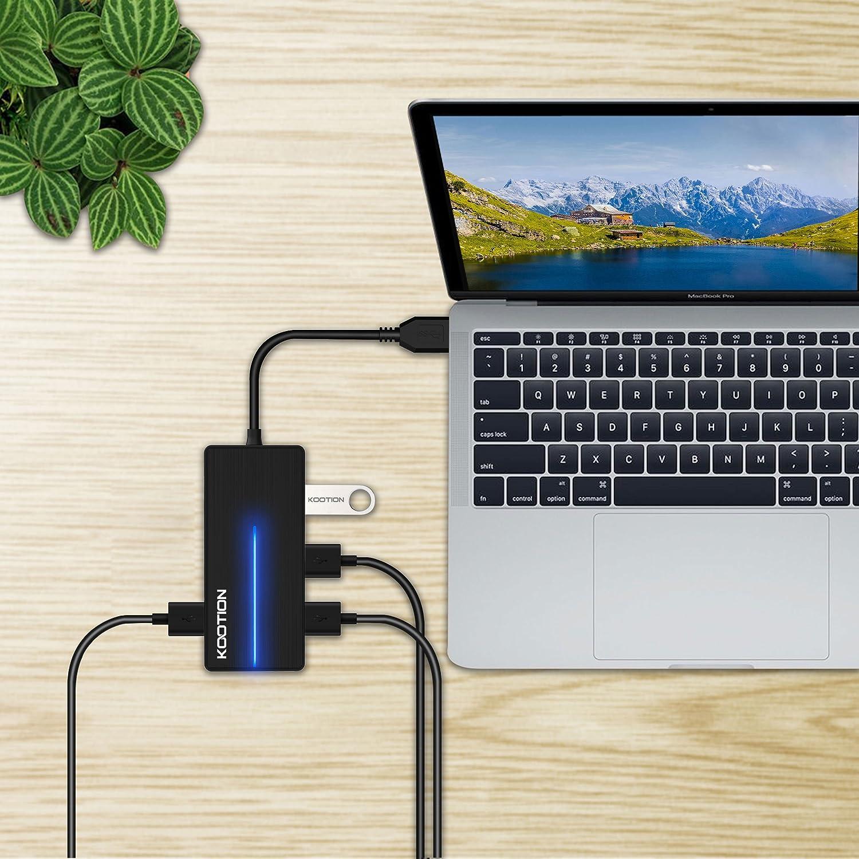 Ultra Slim 3-Port USB 3.0 Data Hub with SD//TF Card Reader Ports and LED Indicator KOOTION USB 3.0 Hub Black