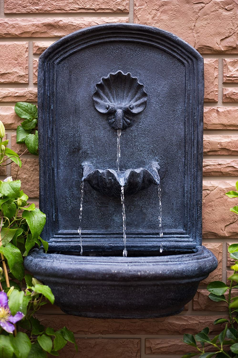 Amazon.com : The Napoli   Outdoor Wall Fountain   Slate Grey   Water  Feature For Garden, Patio And Landscape Enhancement : Wall Mounted Garden  Fountains ...