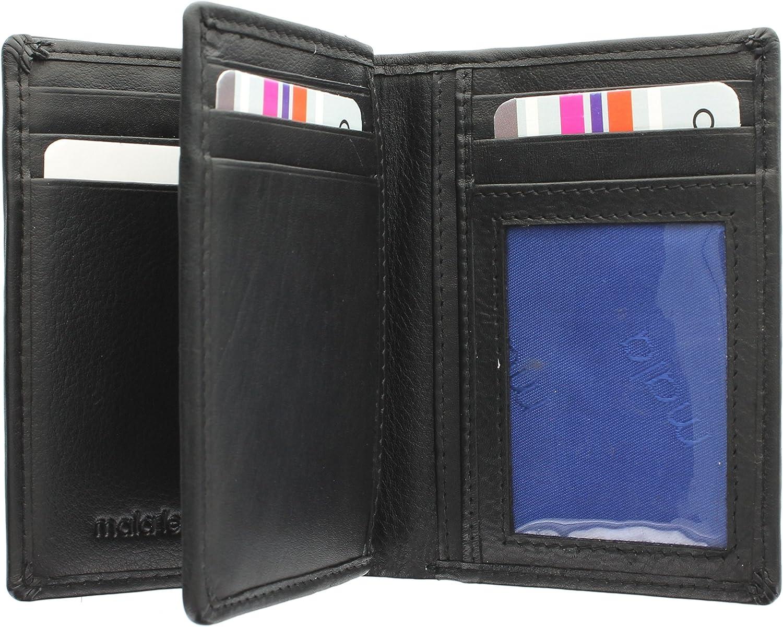 Mala Leather Colección Origin Cartera Compacta Bi-Fold de Cuero con Protección RFID 172_5 Negro