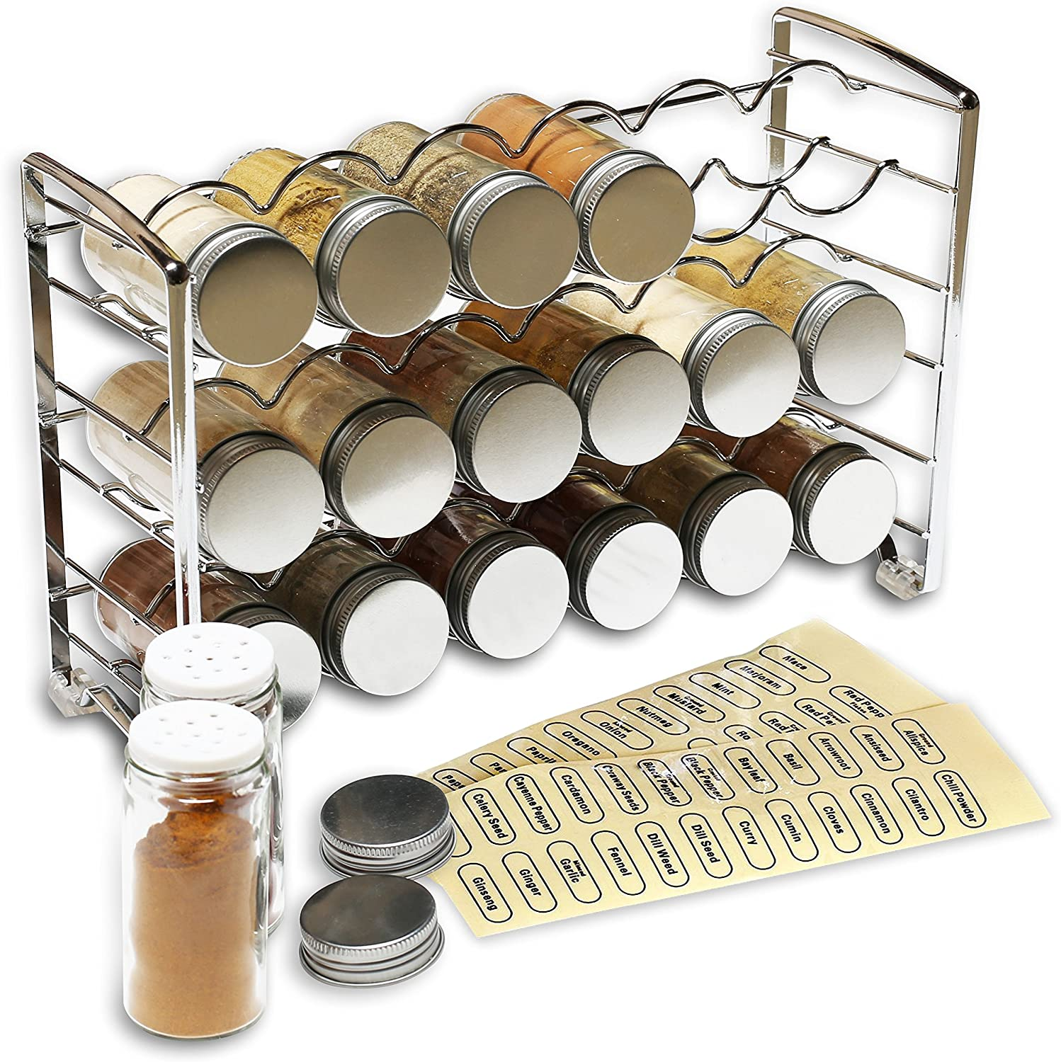 DecoBros Spice Rack Stand holder with 18 bottles and 48 Labels, Chrome: Kitchen & Dining