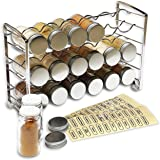 DecoBros Spice Rack Stand holder with 18 bottles and 48 Labels, Chrome