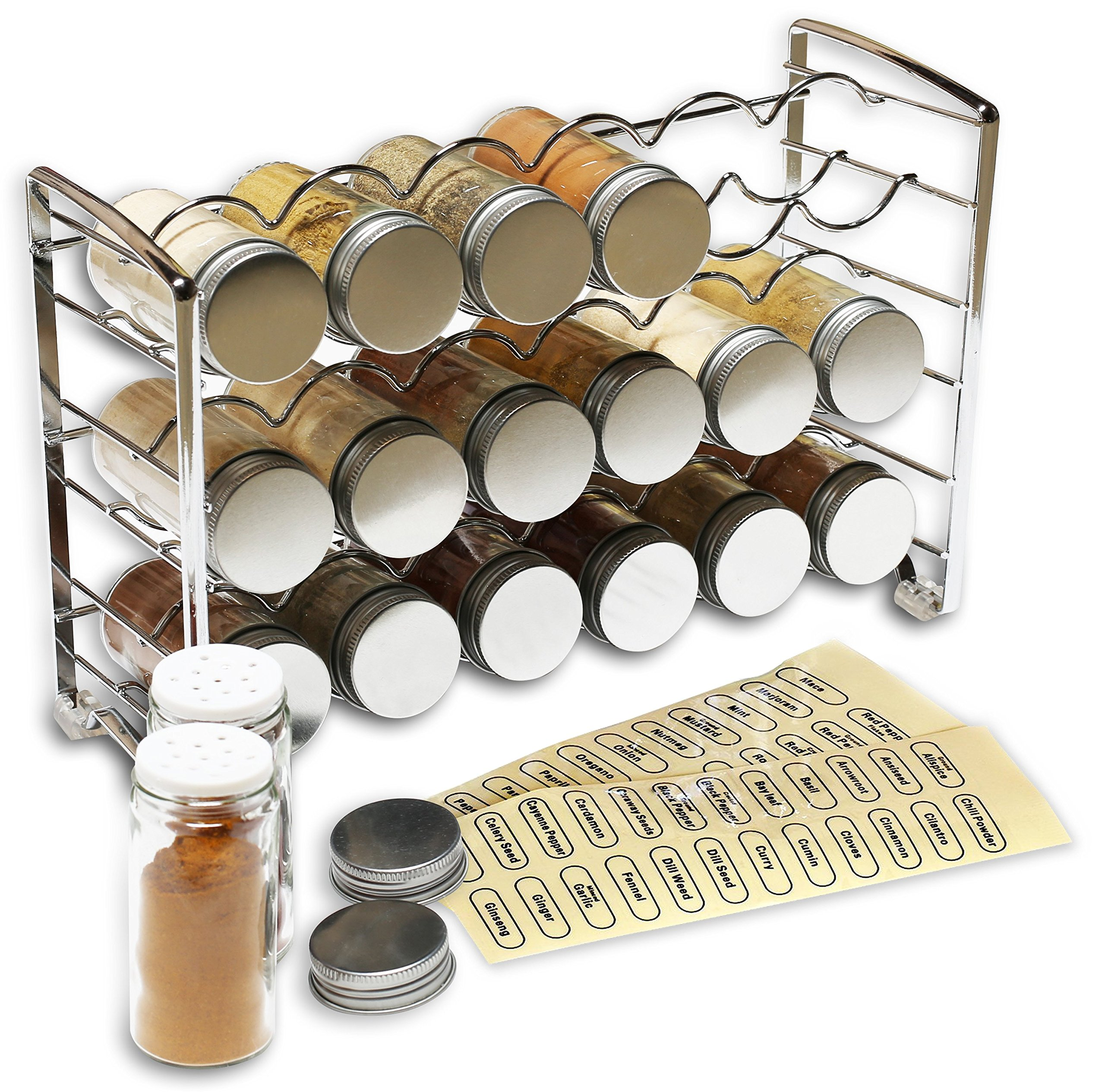 DecoBros Spice Rack Stand holder with 18 bottles and 48 Labels, Chrome by Deco Brothers