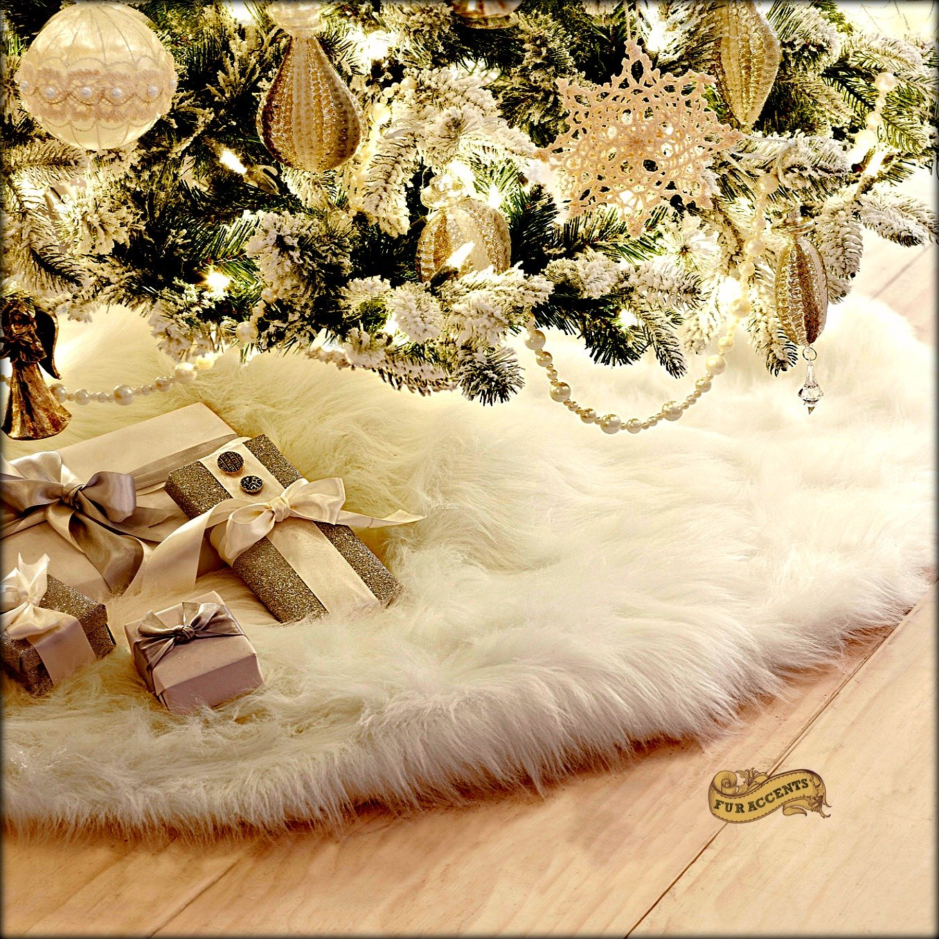 Soft Shaggy Faux Snow Furry Christmas Tree Skirt Decoration Round with Slit and Opening for Tree (60'')