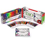 240 Gel Pens Set Including Bonus Art Coloring Book - 120 Unique Colors pens with the case + 120 Free Refills. Perfect for Drawing, Scrapbooking, Coloring, Doodling, Sketching and Craft