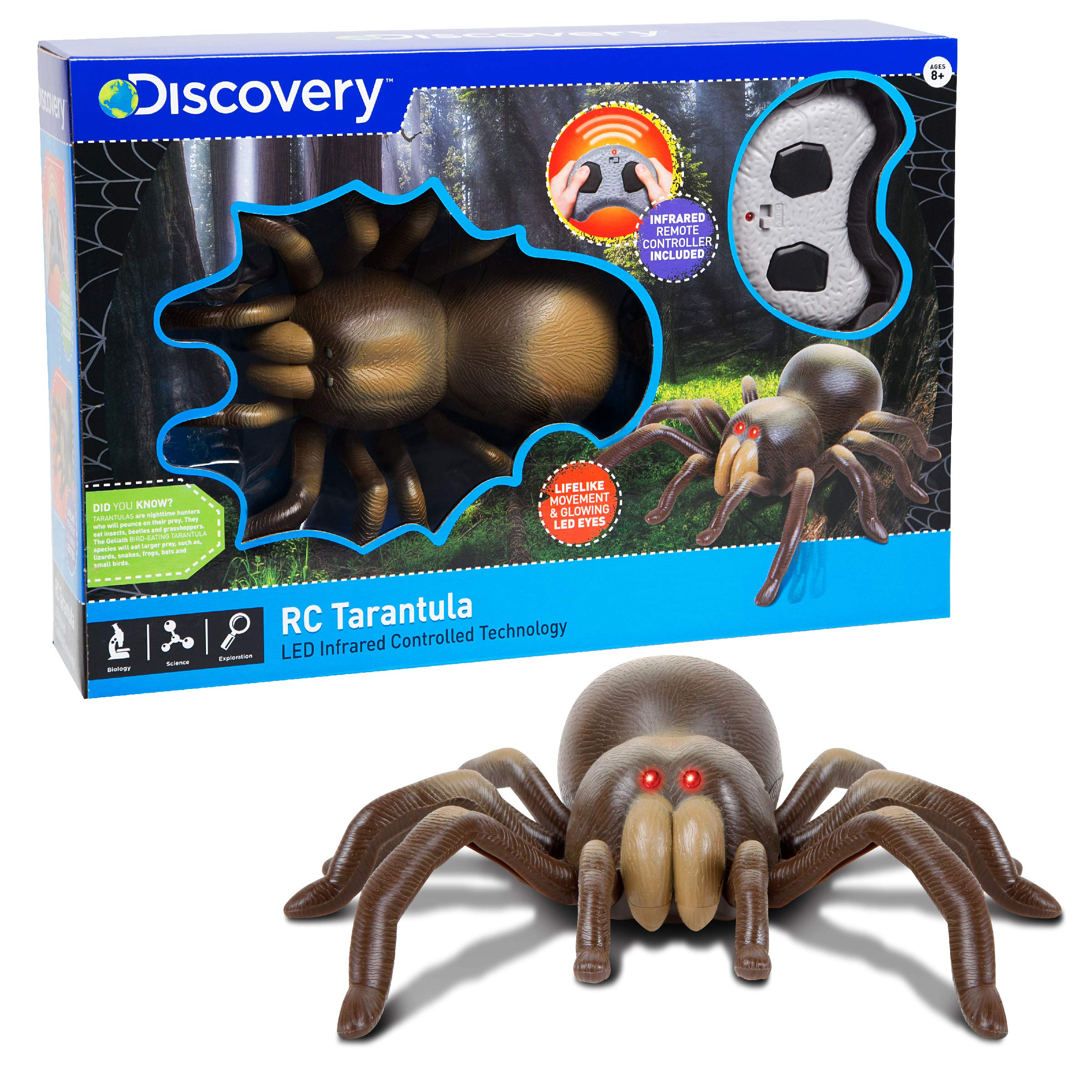DISCOVERY KIDS RC Moving Tarantula Spider, Wireless Remote Control Toy for Kids, Great for Pranks and Halloween Decorations, Realistic Scurrying Movement, Glowing Scary Red LED Eyes by Discovery Kids (Image #3)