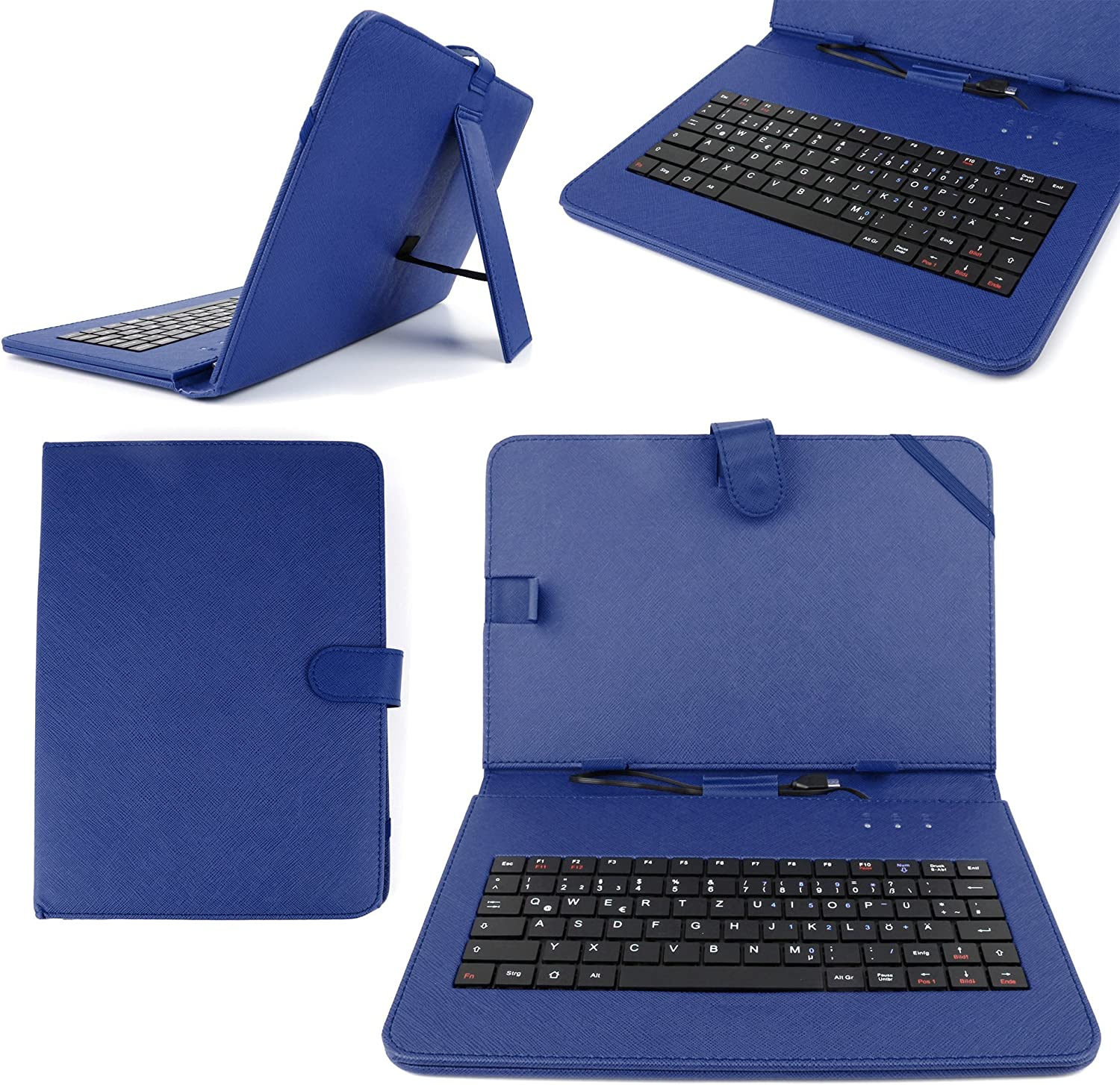 """DURAGADGET Durable Blue Faux Leather Protective Case Cover with Micro USB German Keyboard & Built in Stand for Lenovo IdeaTab/OLPC XO-10 10.1"""" / Bullman TAB9 AQQR/HP ElitePad 900 G1"""
