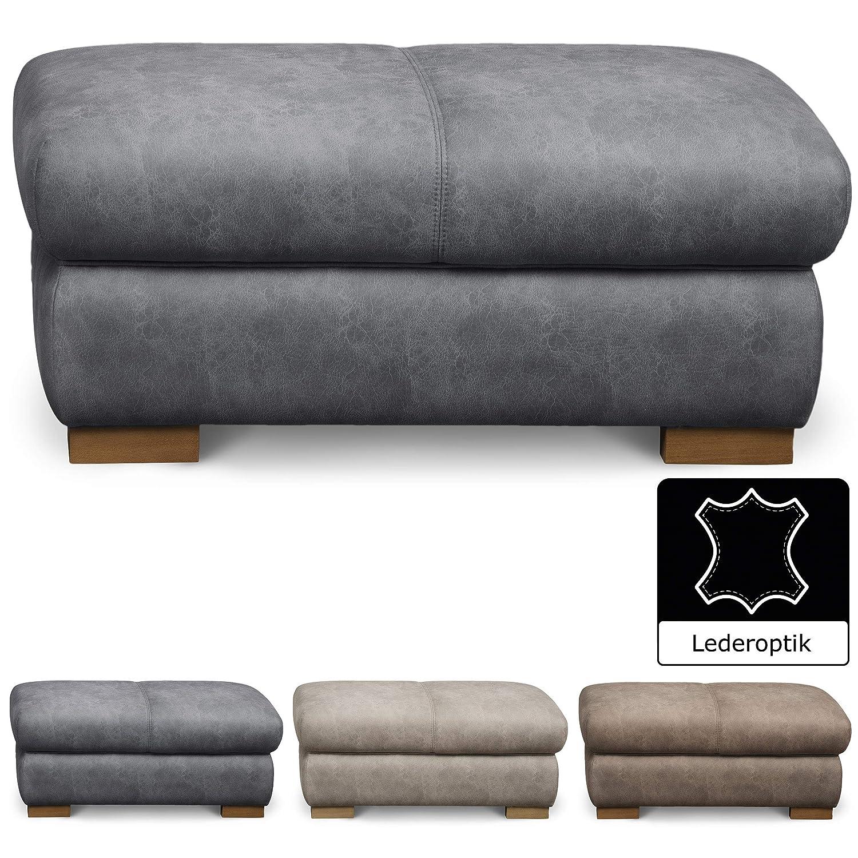 Cavadore Hocker Bules im modernen Design / Großer Polsterhocker in Lederoptik fürs Wohnzimmer / 102 x 47 x 71 cm (BxHxT) / Lederimitat grau
