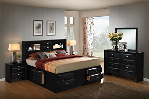 Roundhill Furniture Blemerey 110 Wood Storage Bed Group with King Bed, Dresser, Mirror and 2 Night Stands, Black