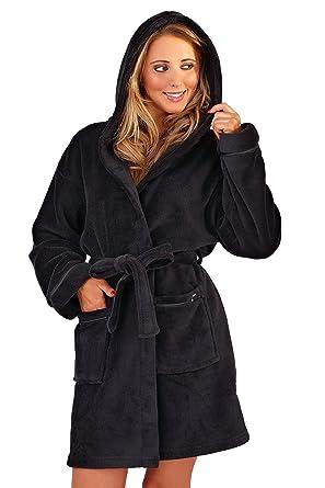 Ladies Super Soft Hooded Fleece Short Dressing Gown Bath Robe Black Size  Medium 12-14  Amazon.co.uk  Clothing 17079b75b