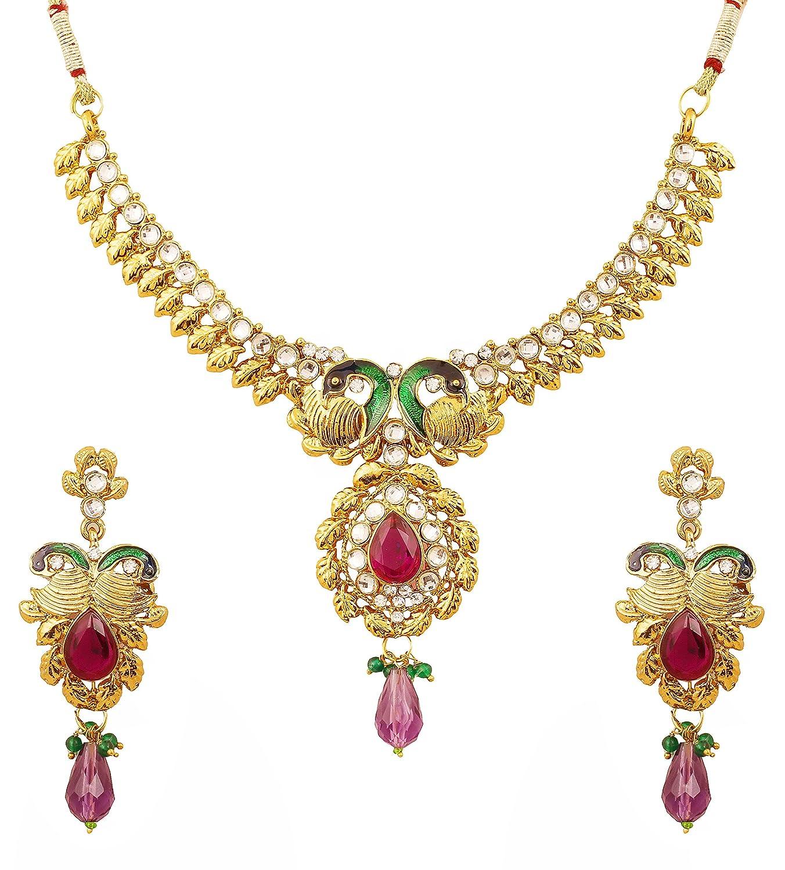 Touchstone Parure pour femme Peacock Minakari coloris doré avec pierres blanc violet style Bollywood FPNSE004-02AKMG