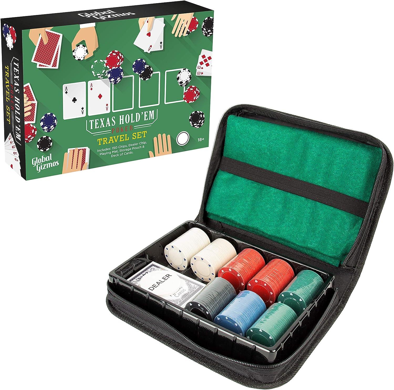 Global Gizmos Poker Travel Set 45409 Texas Holdem póquer de Viaje | Chips/Cards/Esterilla de Juego | Estuche de Transporte | Game Night (Benross Marketing: Amazon.es: Juguetes y juegos