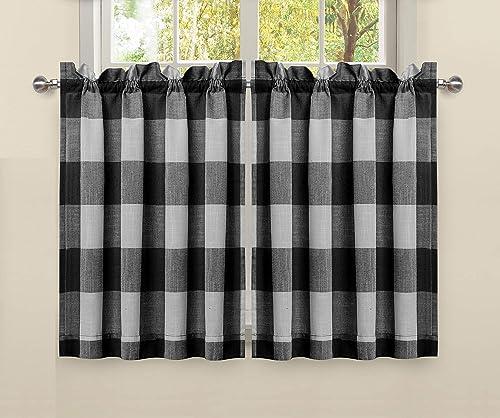 LORRAINE HOME FASHIONS Courtyard Plaid Buffalo Check Kitchen Curtains 52 Wide by 36 Long Tier Pair, Black