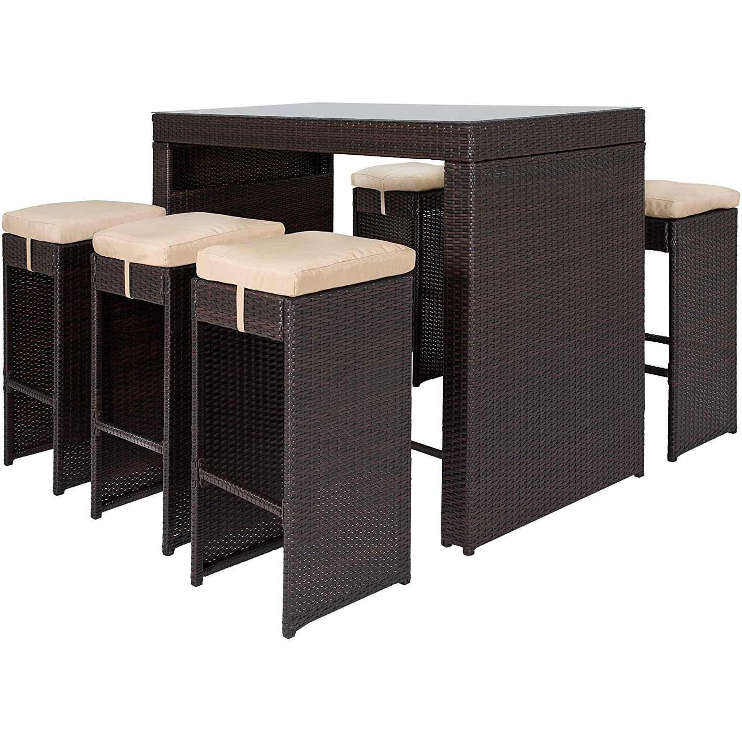 Rattan Table Set Part - 32: Amazon.com : Best Choice Products 7pc Rattan Wicker Barstool Dining Table  Set Bar Stool Brown : Patio, Lawn U0026 Garden
