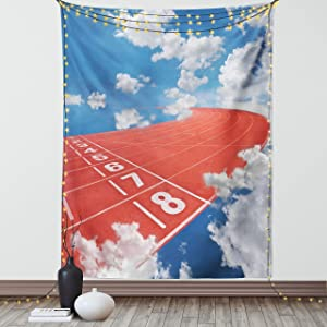 Lunarable Olympics Tapestry, Lanes of Running Track into The Sky Contest Dream Big Landscape Picture, Fabric Wall Hanging Decor for Bedroom Living Room Dorm, 30